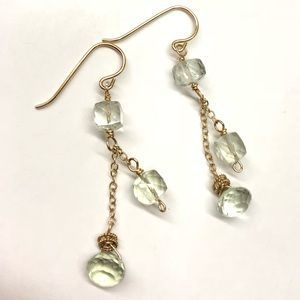 Gold filled earrings with green amethyst